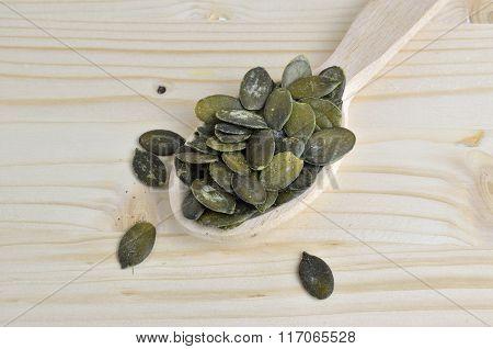 Pumpkin Seeds In Wooden Spoon