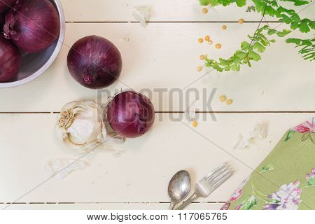 Red Onions On Cream Background