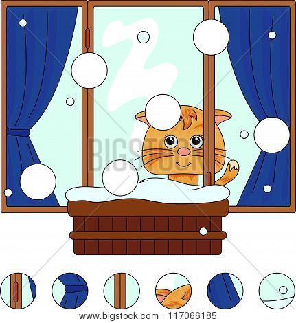 Cat Sitting On The Winter Window With Flower Pots And Curtains. Complete The Puzzle And Find The Mis