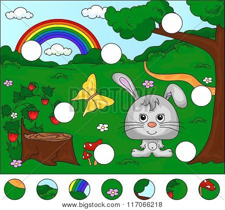 Forest Glade With A Hare, Stub, Strawberries, Butterfly, Trees, Rainbow And Flowers. Complete The Pu