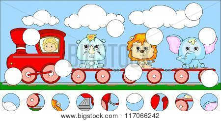 Funny Cartoon Train With Lion, Elephant And Rhino. Complete The Puzzle And Find The Missing Parts Of