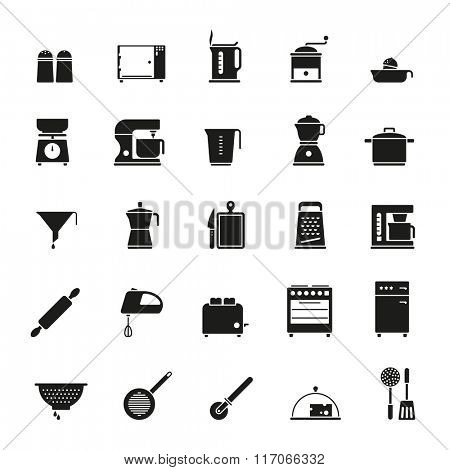 Cooking and Kitchen Vector Icon Collection. Set of 25 solid black kitchen and cooking related icons