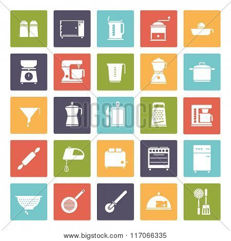 Cooking and Kitchen Vector Icon Collection. Set of 25 kitchen and cooking related icons, negative in colored rounded squares