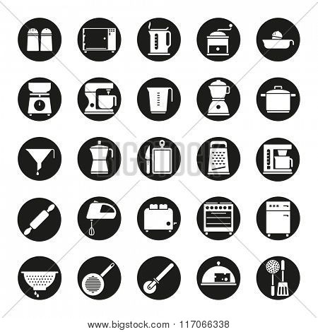 Cooking and Kitchen Vector Icon Collection. Set of 25 kitchen and cooking related icons, negative in black circle