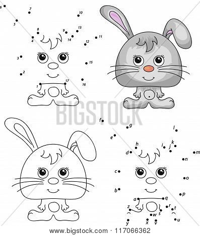 Funny Cartoon Hare. Vector Illustration. Coloring And Dot To Dot Game For Kids