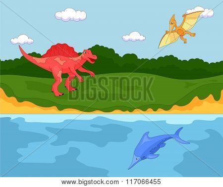 Funny Cute Pterodactyl, Ichthyosaur And Spinosaurus. Educational Game For Kids