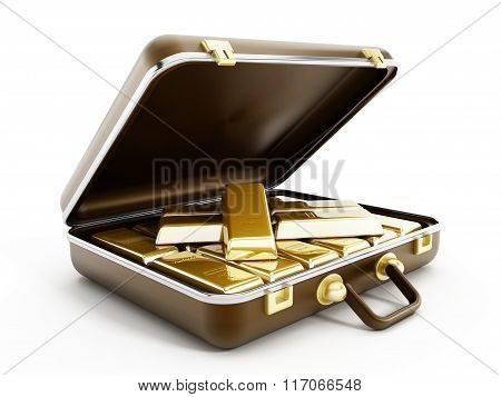 Gold Ingots In Briefcase