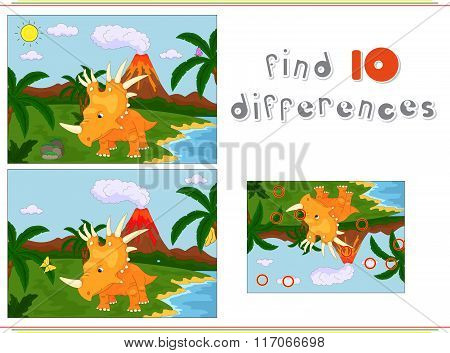 Funny Cute Styracosaurus On The Background Of A Prehistoric Nature. Game For Kids: Find Ten Differen