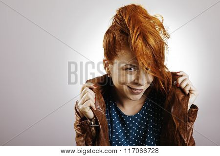 Funky red hair girl