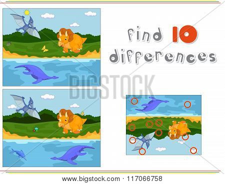 Funny Cute Pterodactyl, Pliosaur And Triceratops. Game For Kids: Find Ten Differences