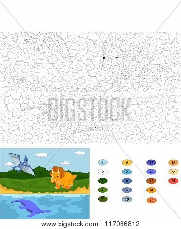 Funny Cute Pterodactyl, Pliosaur And Triceratops. Color By Number Educational Game For Kids