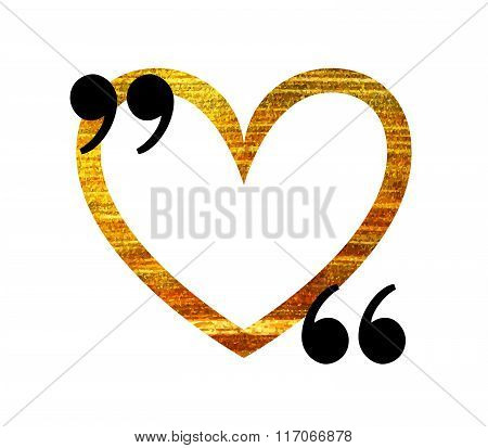 Gold heart quotation mark speech bubble.