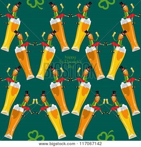 Leprechaun With A Beer. St. Patrick's Day. Seamless Background Pattern.