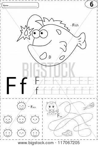 Cartoon Fish, Face And Fox. Alphabet Tracing Worksheet: Writing A-z And Educational Game For Kids