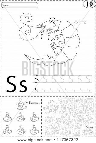 Cartoon Shrimp, Submarine And Starfish. Alphabet Tracing Worksheet: Writing A-z And Educational Game