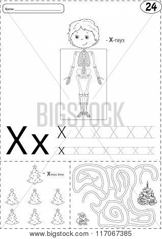 Cartoon X-rays Sceleton And Xmas Tree With Santa. Alphabet Tracing Worksheet: Writing A-z And Educat