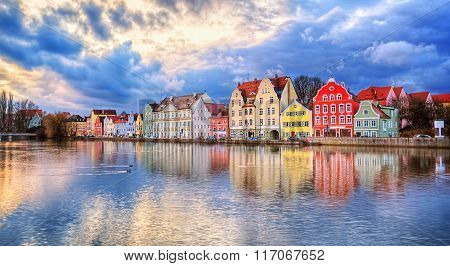 Colorful Gothic Houses Reflecting In Isar River On Sunset, Landshut, Munich, Germany