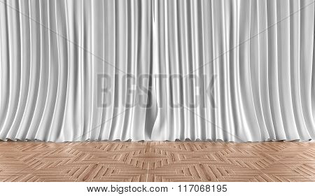 Home background. Curtains and parquet flooring