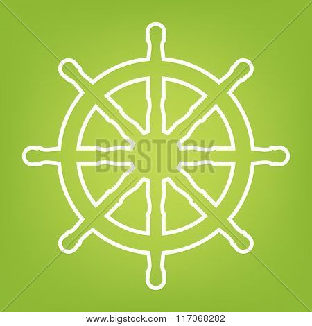 Ship wheel line icon