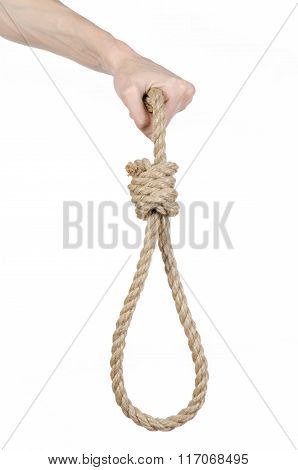 Lynching And Suicide Theme: Man's Hand Holding A Loop Of Rope For Hanging On White Isolated Backgrou