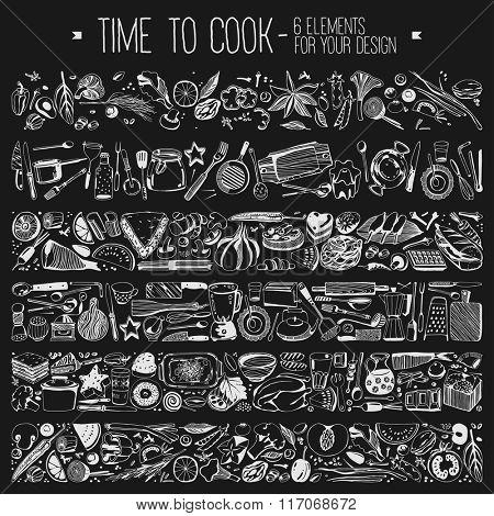 Time to cook - Set elements for your design, vegetables, kitchen tools, food