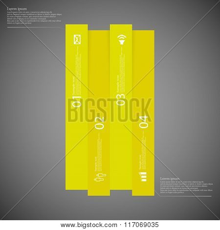 Bar Infographic Template Vertically Divided To Four Yellow Parts