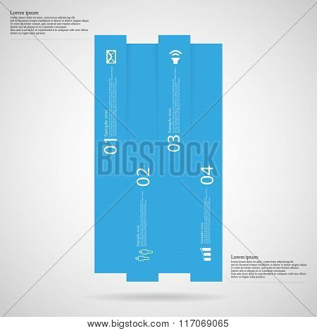 Bar Infographic Template Vertically Divided To Four Blue Parts