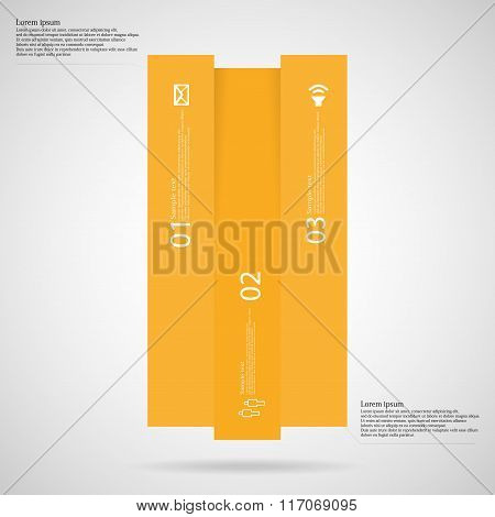 Bar Infographic Template Vertically Divided To Three Orange Parts