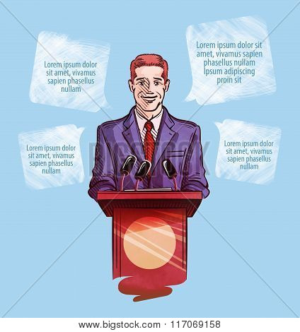 Press conference. Vector illustration man with microphones