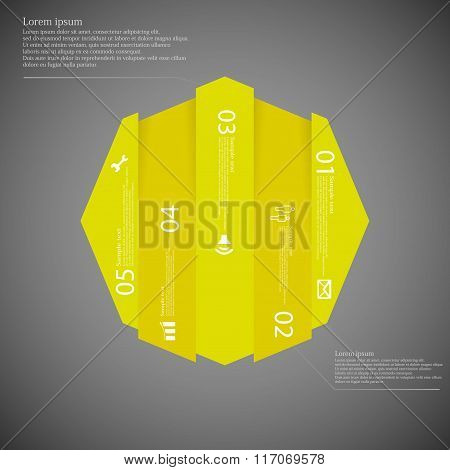 Octagon Infographic Template Vertically Divided To Five Yellow Parts