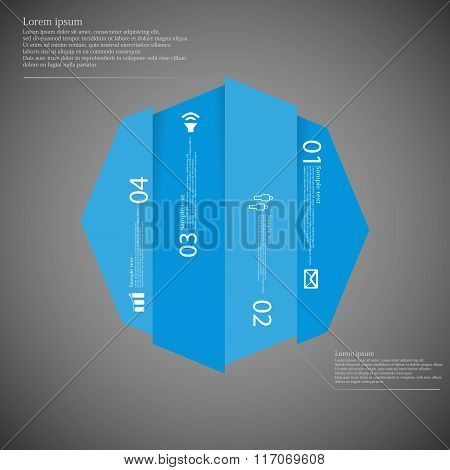 Octagon Infographic Template Vertically Divided To Four Blue Parts