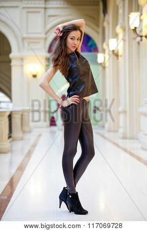 Portrait full length of young beautiful woman