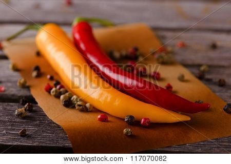 Two Hot Chili Peppers With Pepper Seeds