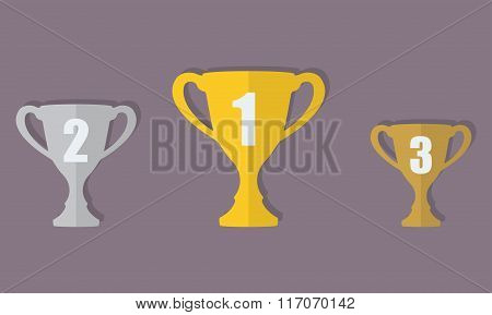 Gold, Silver and Bronze Trophy Cup. First place award. Champions or winners Infographic elements.