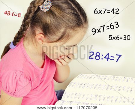 The Girl Tired To Solve The Examples In Mathematics