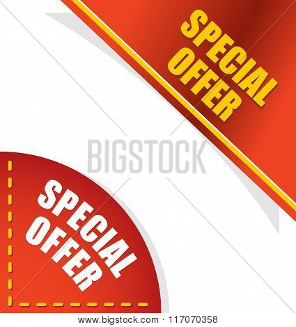 Special Offer. Template For Your Design. Angle Red And Gold Letters. Design Element For Presentation