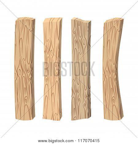 Old Wooden Boards. Wood Set On White Background. Vintage Boards.