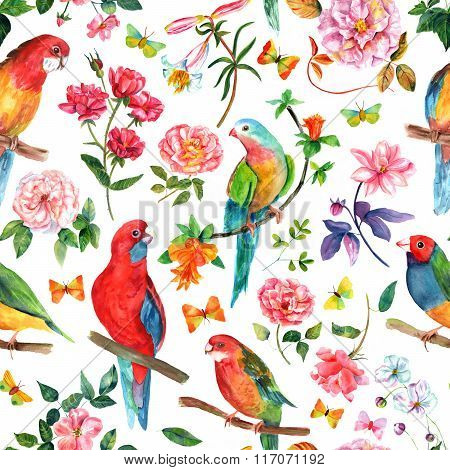 Vintage Style Seamless Background Pattern With Birds, Roses And Butterflies