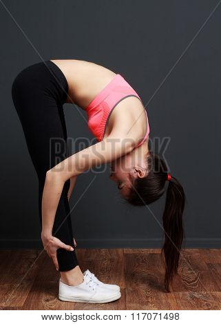 Exercise And Stretching - Fitness Woman Doing Inclination To Socks.