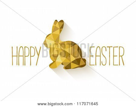 Happy Easter banner in low poly triangle style.