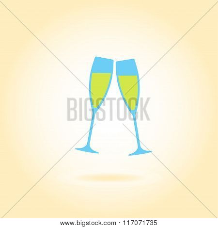 Cheers glass icon. Two glasses of champagne or wine. Vector illustration.