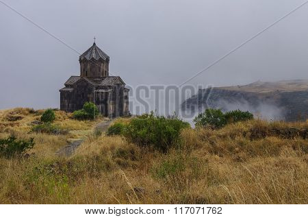 Amberd St. Astvatsatsin (holy Mother Of God) Church In Slope Of Aragats Mountain In The Clouds. Arme