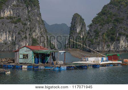 Ha-long Bay, Vietnam, 3 January 2015: View Of Ha Long Bay Floating Village