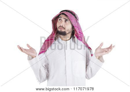 Confused Arabian Person in Studio