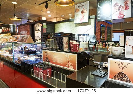 SINGAPORE - NOVEMBER 03, 2015: interior of Costa Coffee. Costa Coffee is the second largest coffeehouse chain in the world behind Starbucks and the largest in Britain