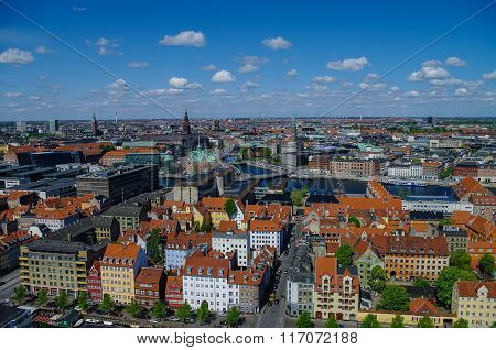 Panorama View Of Copenhagen City  In Sunny Spring Day, Denmark