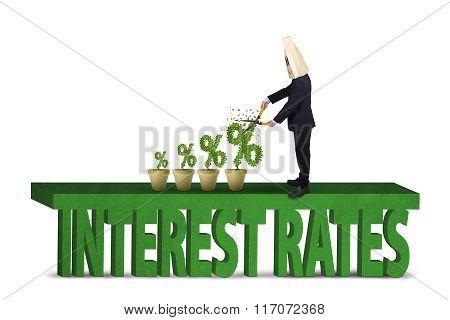 Entrepreneur Cuts Percentage Signs Of Interest Rates