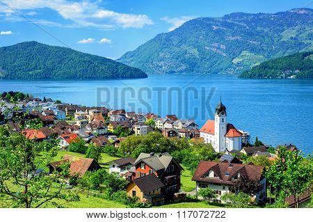 Lake Lucerne And The Alps Mountains By Ruetli, Switzerland