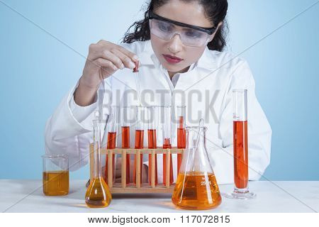 Indian Female Scientist Doing Research