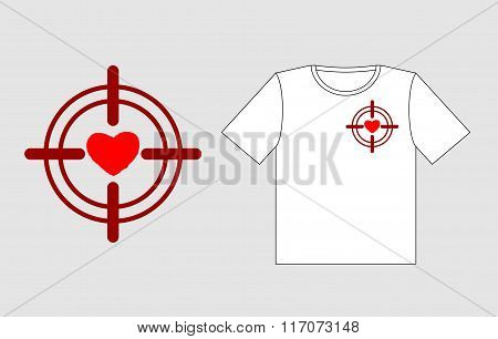 Heart On Sight. Logo To Design T-shirts For Valentines Day. February 14 Valentines Day. Love Is In C